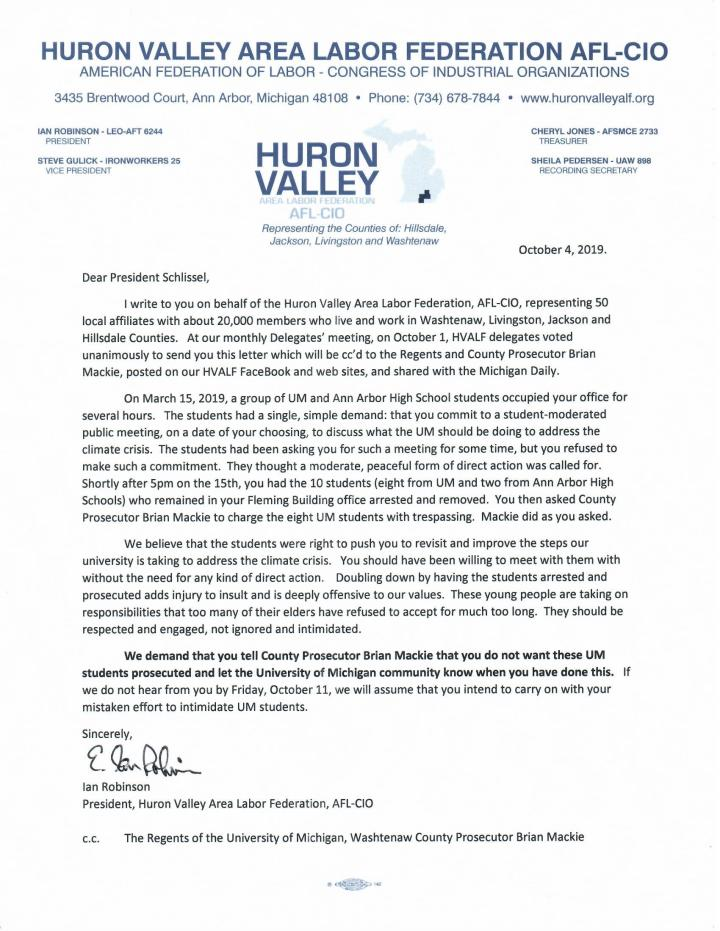 HVALF Open Letter to Schlissel